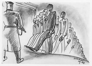 Zu fünf dessin David Olère Birkenau prisonniers