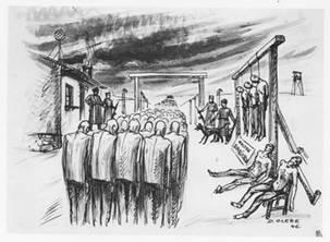 dessin David Olère travail Auschwitz Birkenau pendaisons