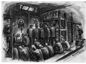 dessin David Olère baraque Birkenau prière prisonniers