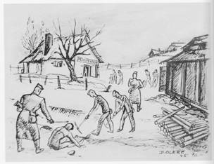 dessin David Olère Bunker Auschwitz Birkenau chambres à gaz