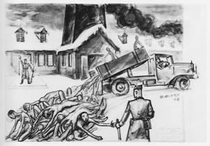 dessin David Olère crématoire K III extermination femmes Auschwitz Birkenau