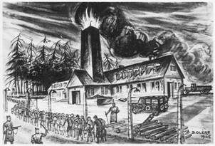 dessin David Olère crématoire K III Auschwitz Birkenau extermination