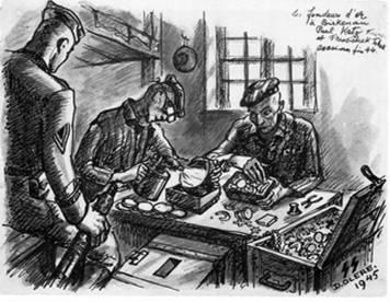 dessin David Olère Auschwitz Birkenau fondeur or dents chambres à gaz