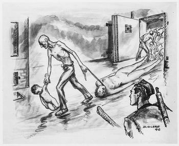 dessin David Olère chambre à gaz fours Auschwitz Birkenau crématoire