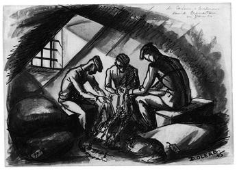 dessin David Olère Sonderkommando crématoire cheveux femmes Auschwitz Birkenau