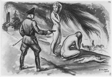dessin David Olère SS femmes fosse de crémation Auschwitz Birkenau
