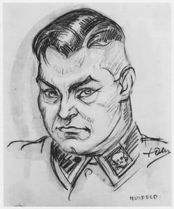 SS Erich Muhsfeldt dessin David Olère Auschwitz Birkenau  Sonderkommando Majdanek