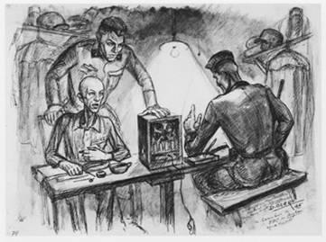 Dessin David Olère radio BBC SS Auschwitz Birkenau