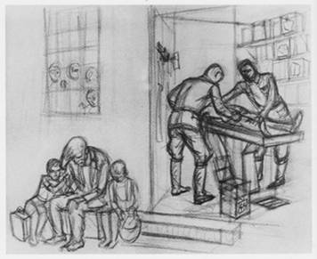 dessin David Olère Auschwitz Birkenau K II dissection jumeauxdent Mengele - red