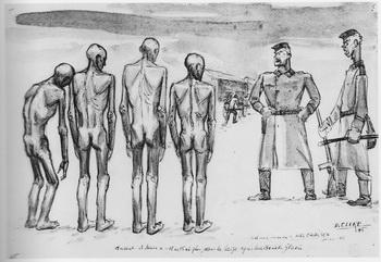 dessin David Olère marches de la mort arrivée admission Mauthausen